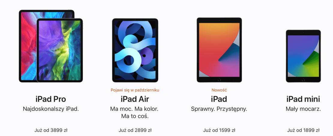 Ceny iPadów w Polsce (stan na wrzesień 2020 r.)