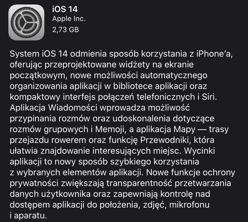 Opis aktualizacji iOS 14
