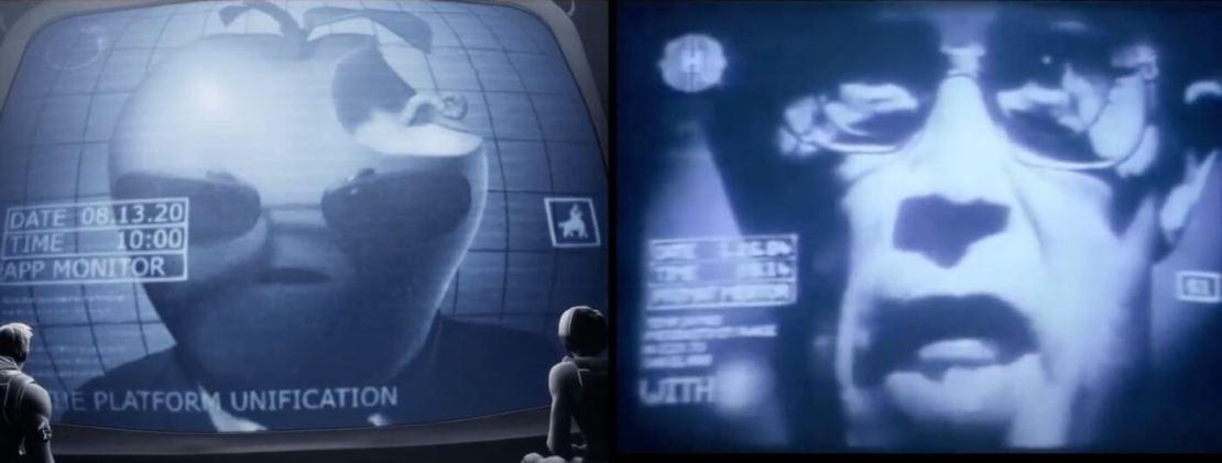 Z lewej Wielkie Jabłko (Big Apple) z lewej Wielki Brat (Big Brother)