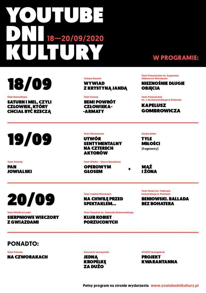 Program wydarzenia YouTube Dni Kultury 2020