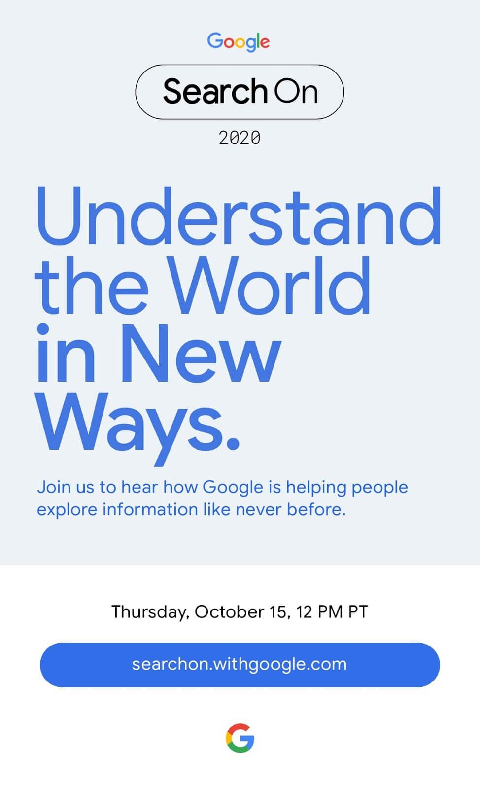 Zaproszenie na wydarzenie Google Search On 2020 (15 października 2020 r.)