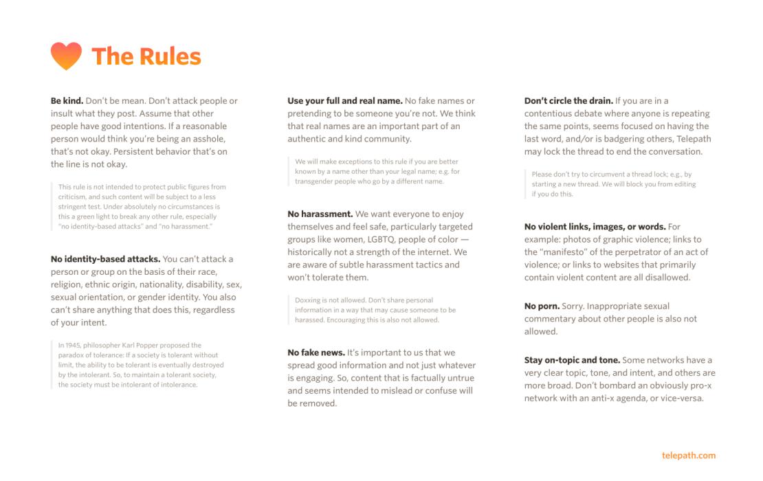 Zasady sieci społecznościowej Telepath (Telepath Rules)
