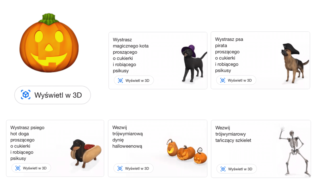 Obiekty 3D AR w wyszukiwarce Google z okazji Halloween