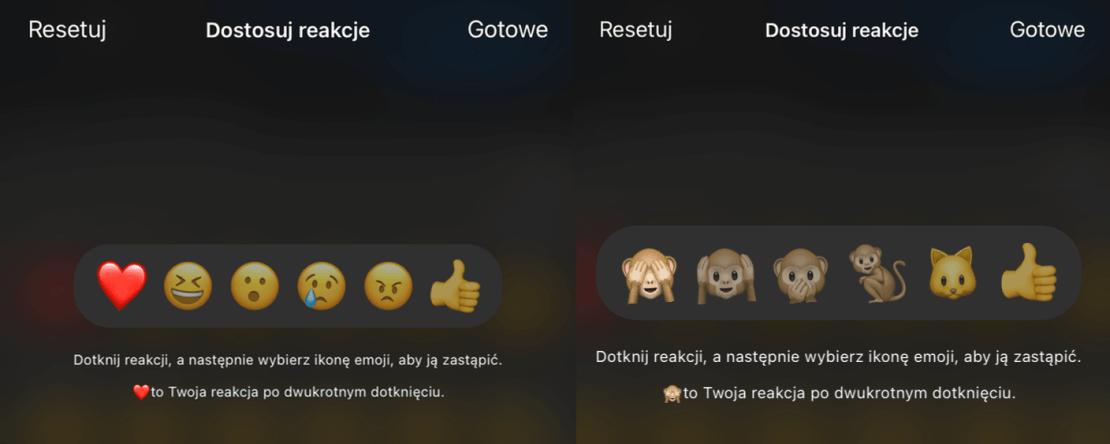 Niestandardowe reakcje na wiadomości na Messengerze