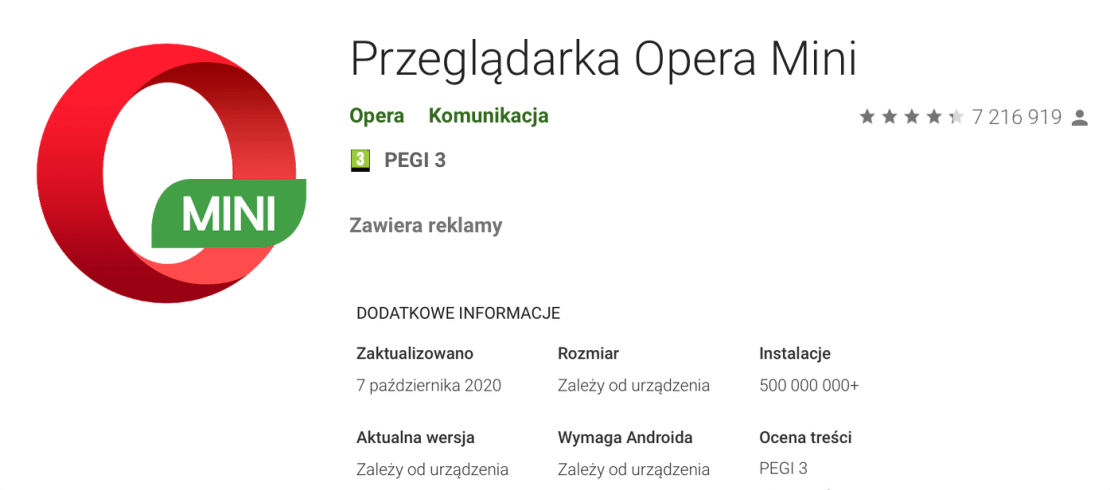 Opera Mini zainstalowana 500 mln razy na Androidzie