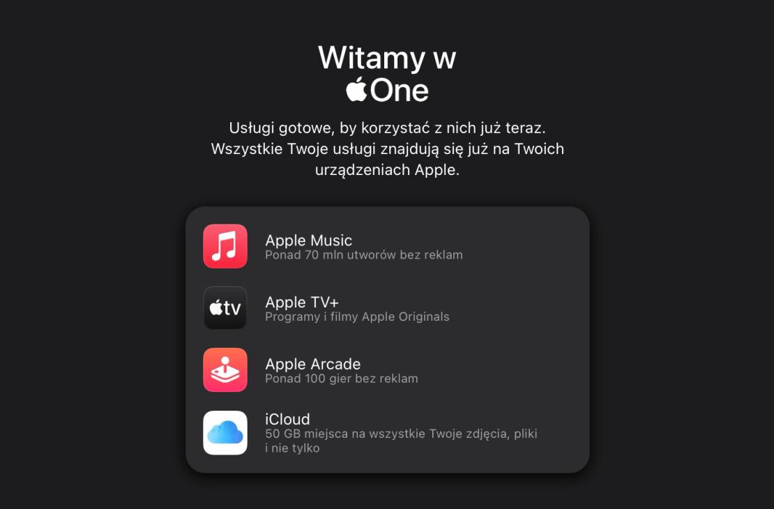 Witamy w Apple One - ekran zakupu subskrypcji (iPhone)