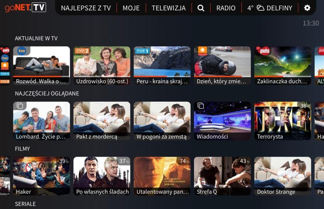 Ekran główny aplikacji goNET.TV (Polska)
