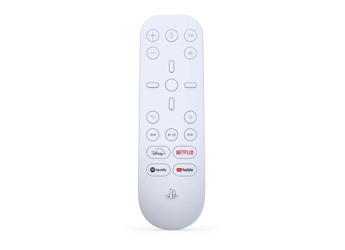Pilot PS5 Media z przyciskami: Disney+, Netflix, Spotify i YouTube.