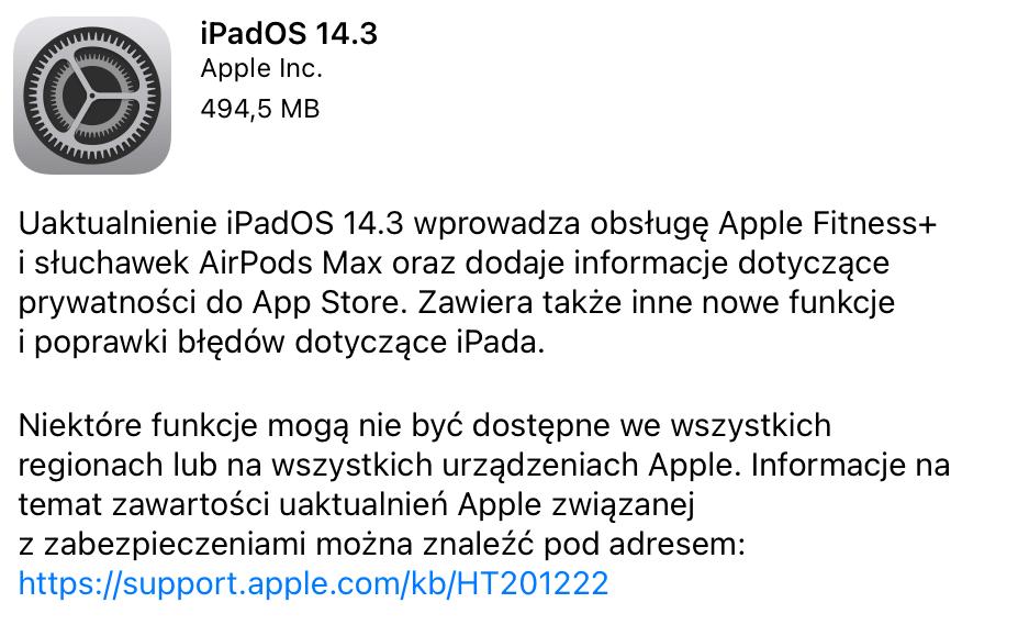 iPadOS 14.3 OTA update