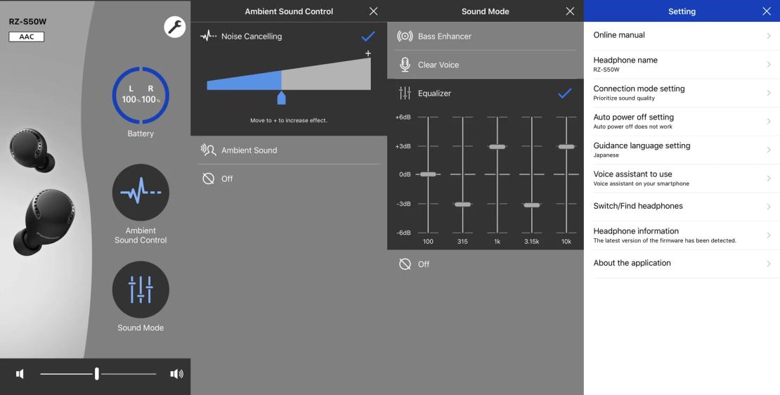 Zrzuty ekranów z aplikacji Panasonic Audio Connect