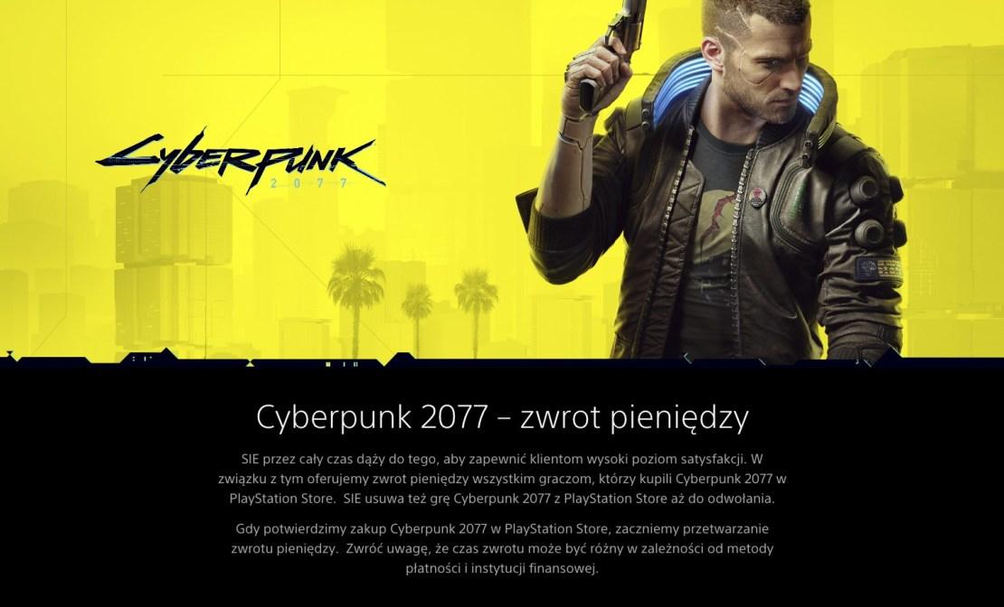 Zwrot pieniędzy – Cyberpunk 2077 – Sony PlayStation Store