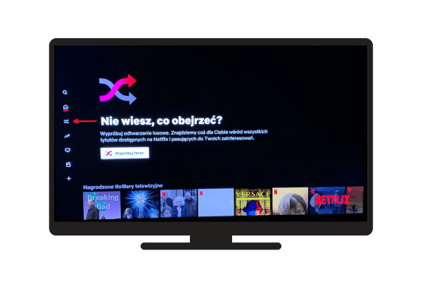 """Funkcja """"Odtwarzanie losowe"""" w serwisie Netflix na Smart TV"""