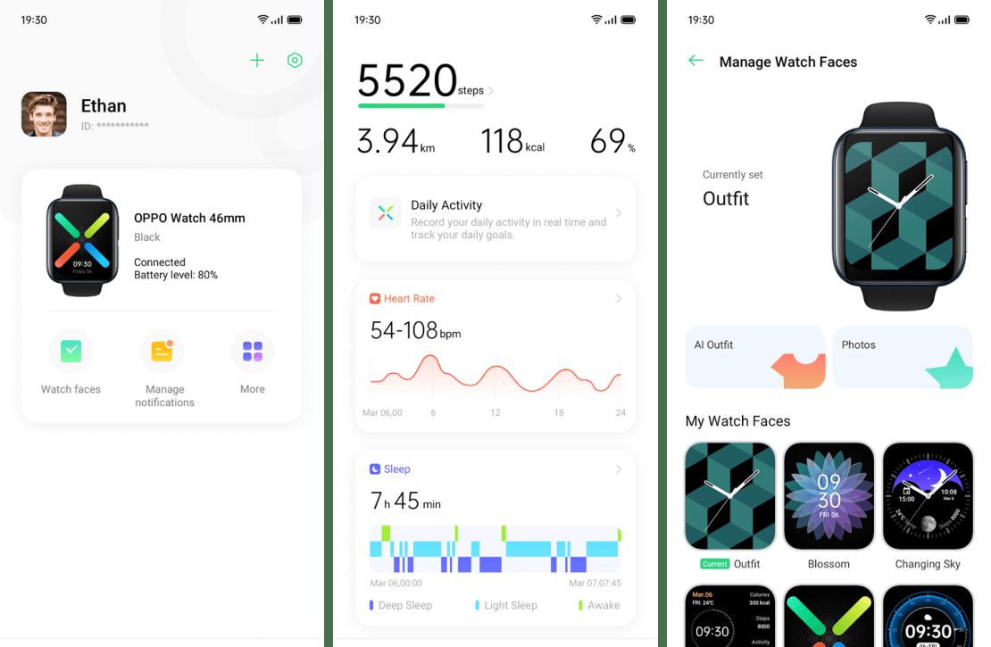 Zrzuty ekranu z aplikacji HeyTap Health