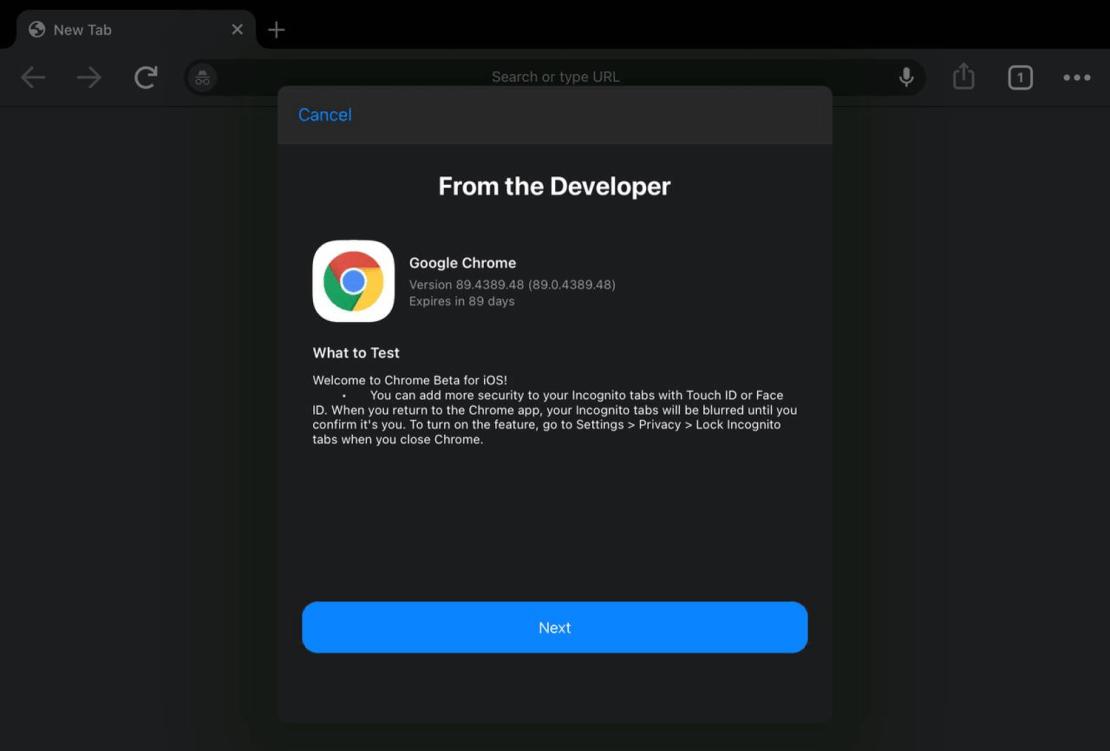 Chrome Beta (iOS) z blokadą kart incognito za pomocą Face ID