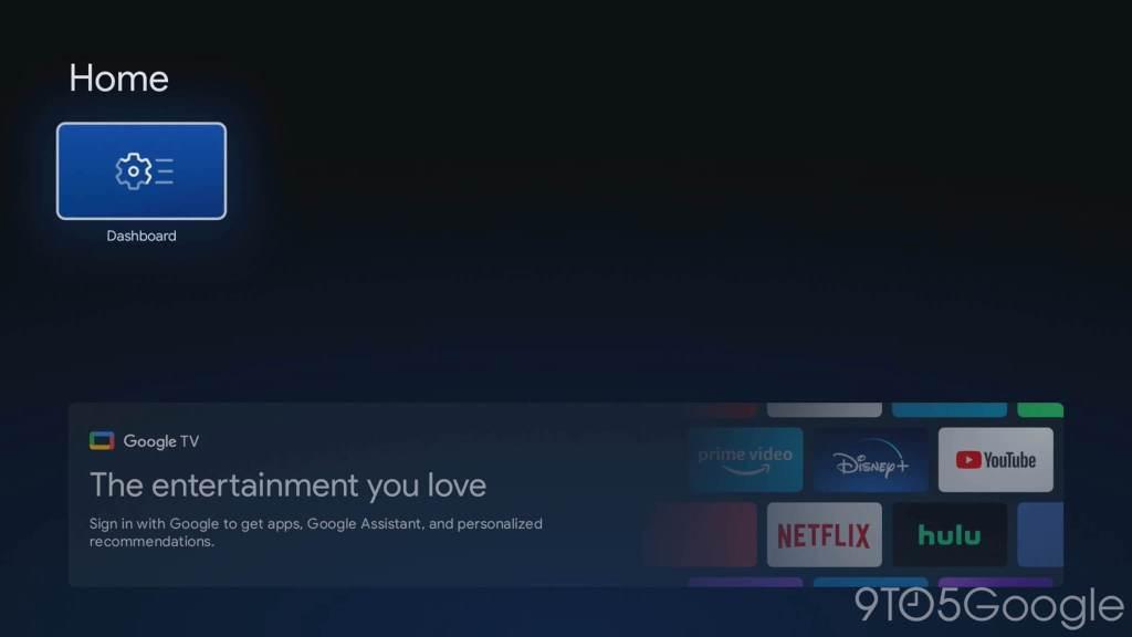 Pulpit (Dashboard) w Google TV w trybie Basic TV