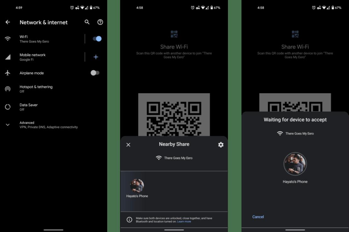 Udostępnianie hasła do Wi-Fi (Android 12)