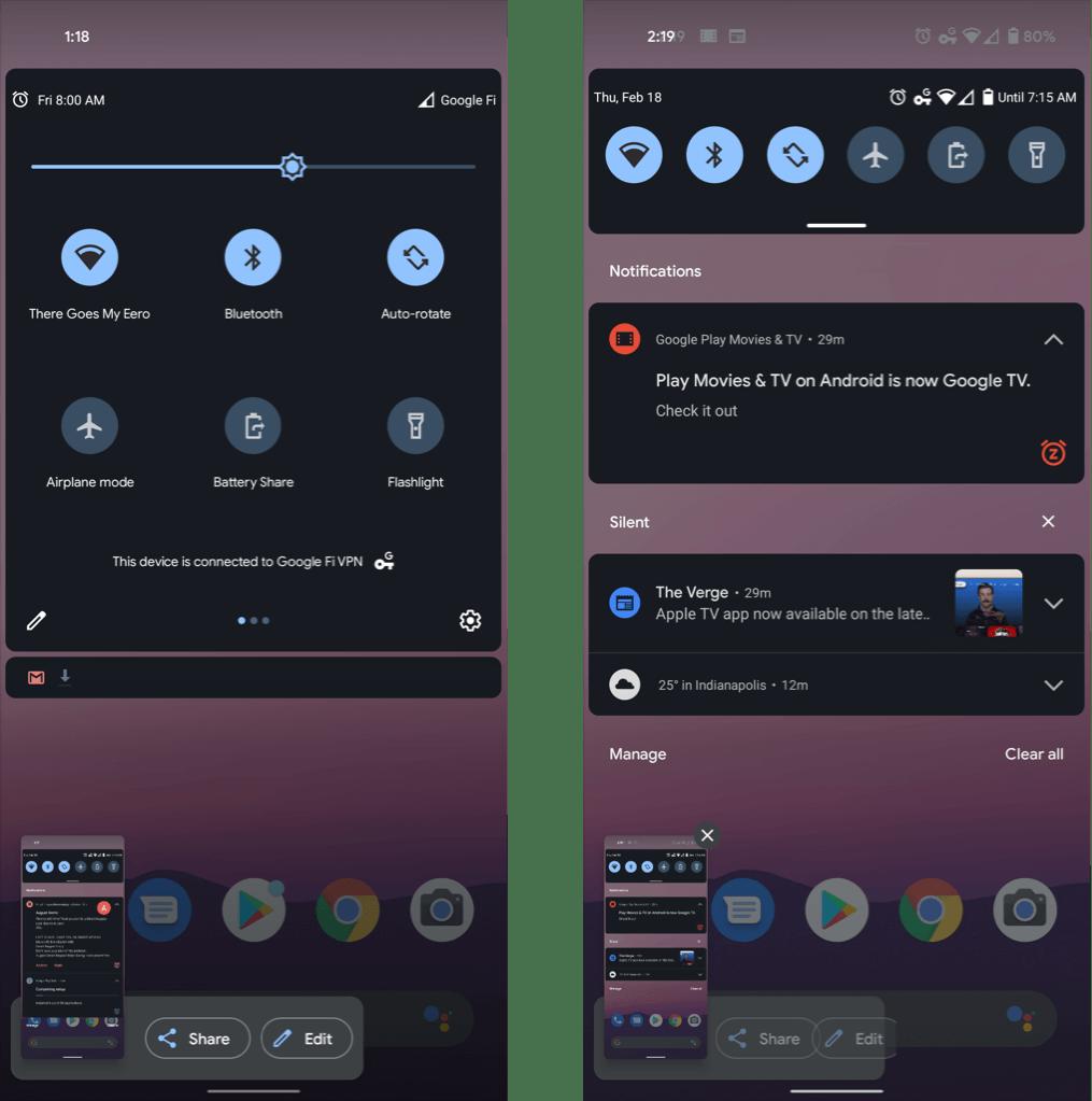 Interfejs zrzutów ekranu (Android 12)