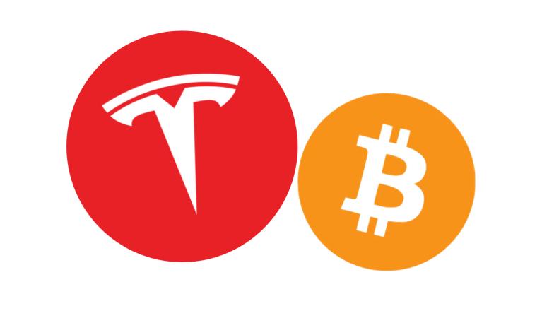 Tesla i bitcoin - ikony