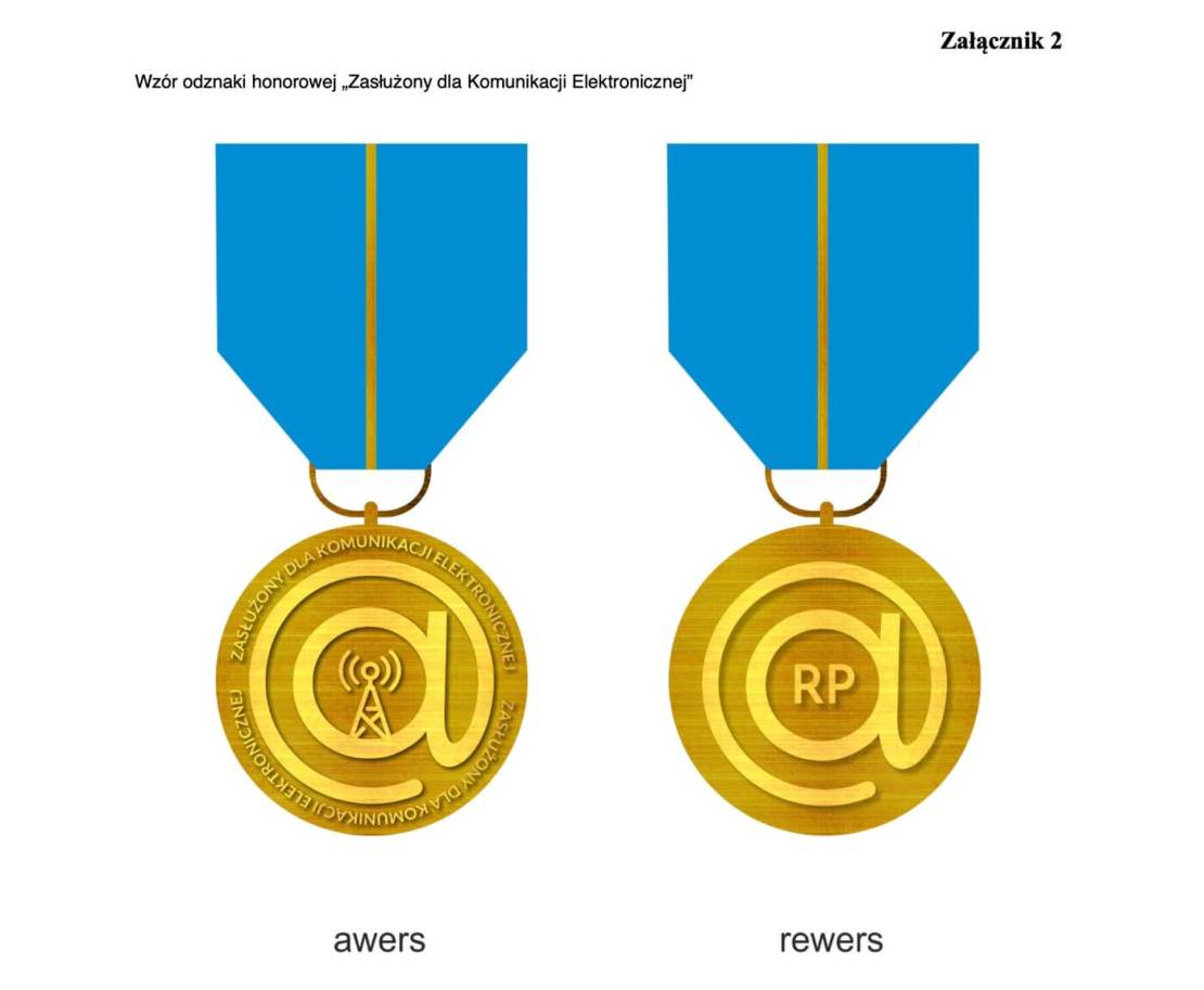 """Wzór odznaki honorowej """"Zasłużony dla Komunikacji Elektronicznej"""""""