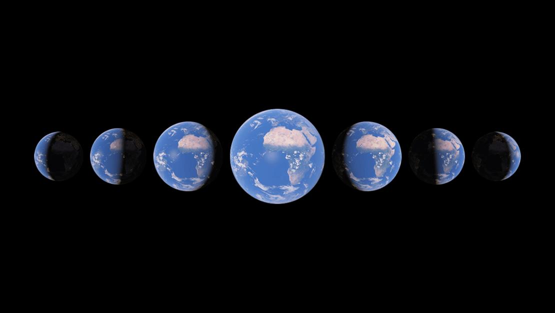 Google Earth - ziemia w różnych położeniach