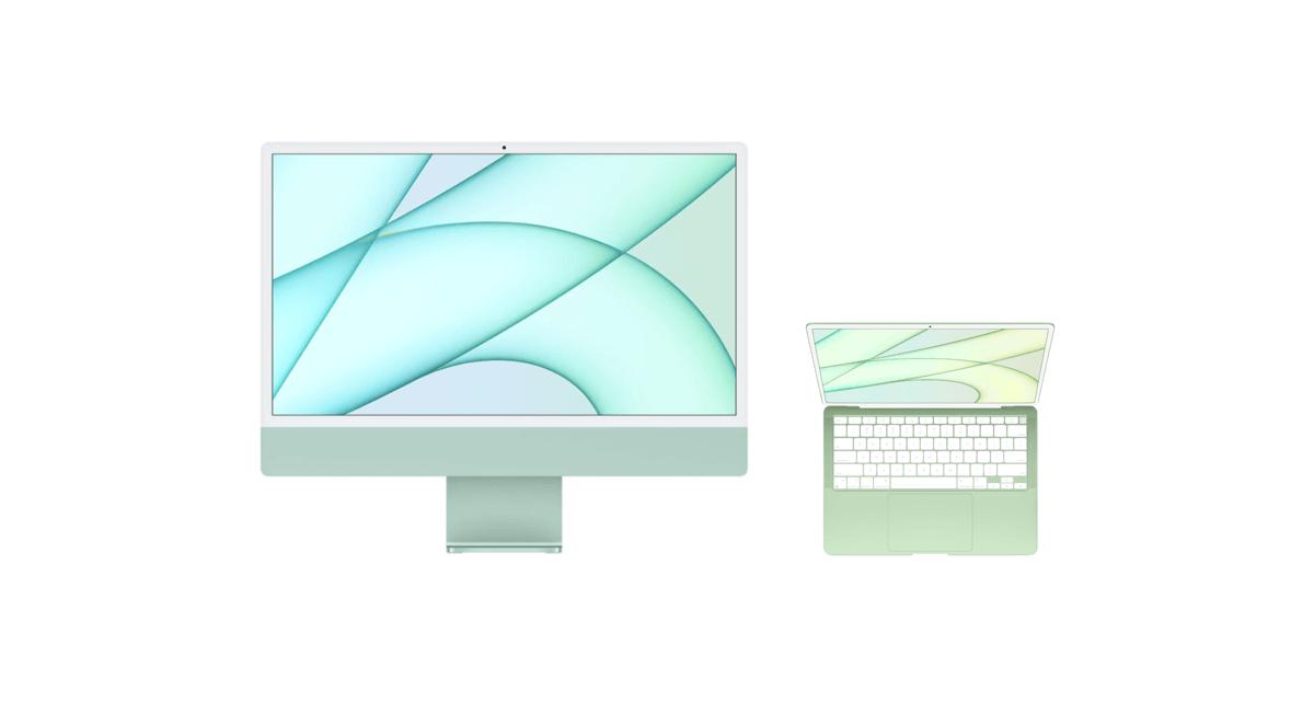 iMac 2021 i koncepcja kolorowego MacBooka Air