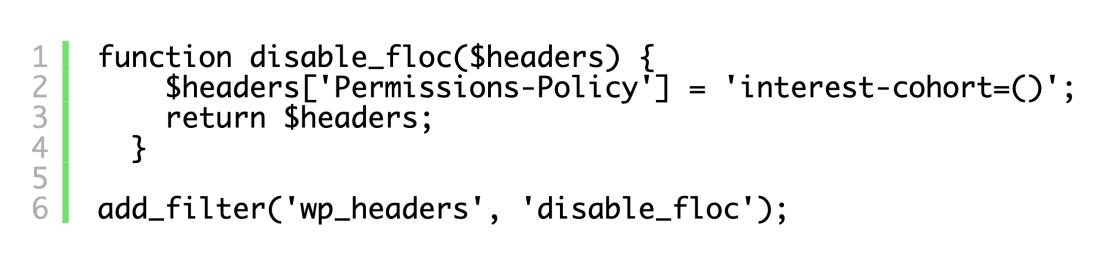 Kod wyłączający FLoC w WordPressie