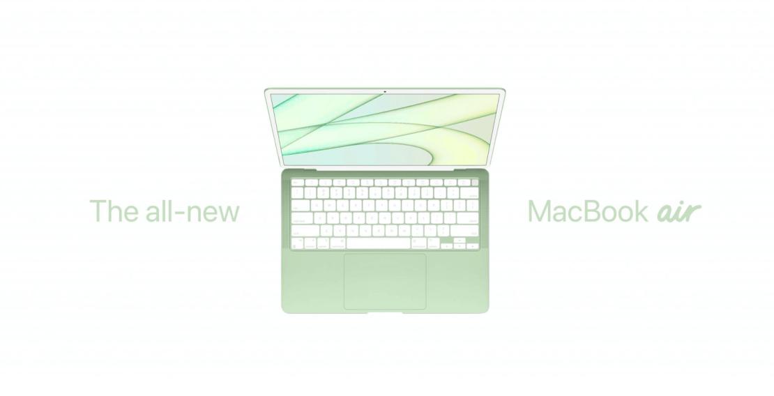 Koncepcja kolorowego MacBooka Air w kolorze zielonym