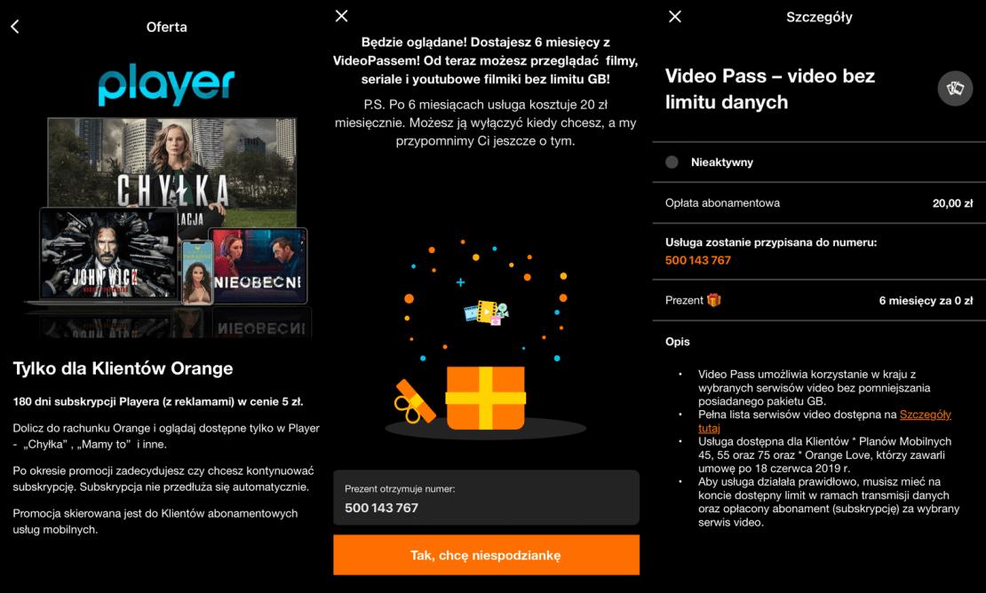 Player i Video Pass w promocji na pół roku w Orange (kwiecień 2021)