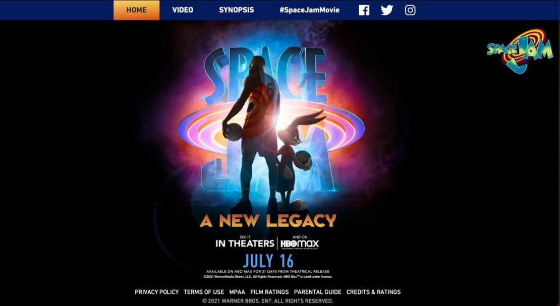 Strona Spacejam.com z 2021 roku