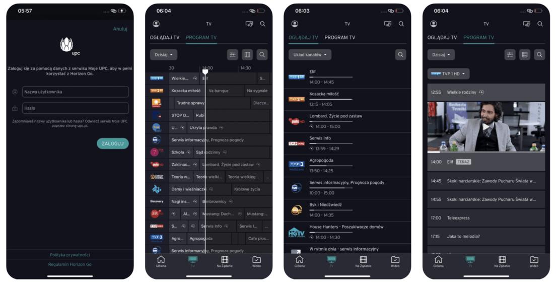 UPC TV Go - zrzuty ekranu z aplikacji mobilnej