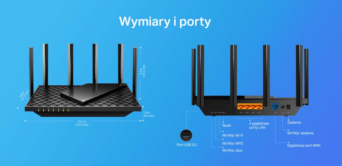 Wymiary i porty routera Archer AX73