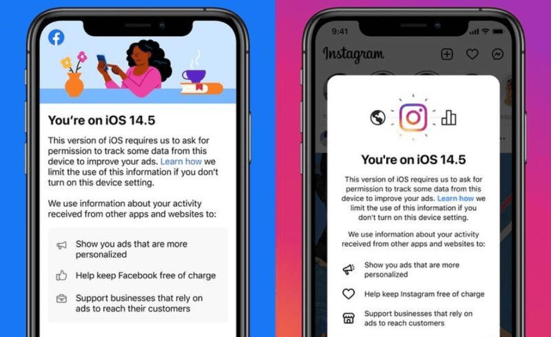 Ostrzeżenie Facebooka i Instagrama pod systemem iOS 14.5