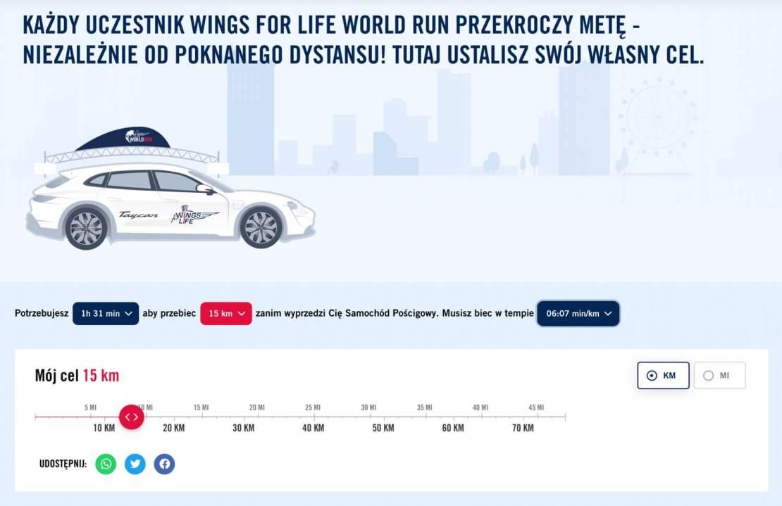 Ustawienie celu w Wings for Life World Run
