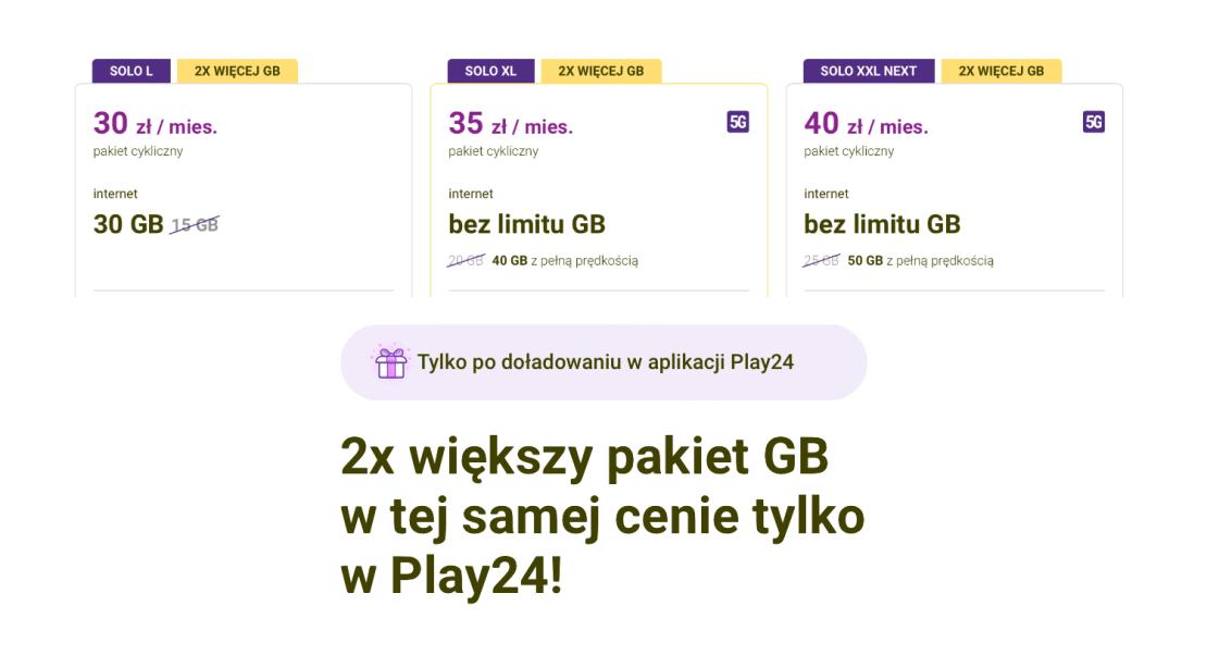 2x większy pakiet GB w tej samej cenie tylko w Play24