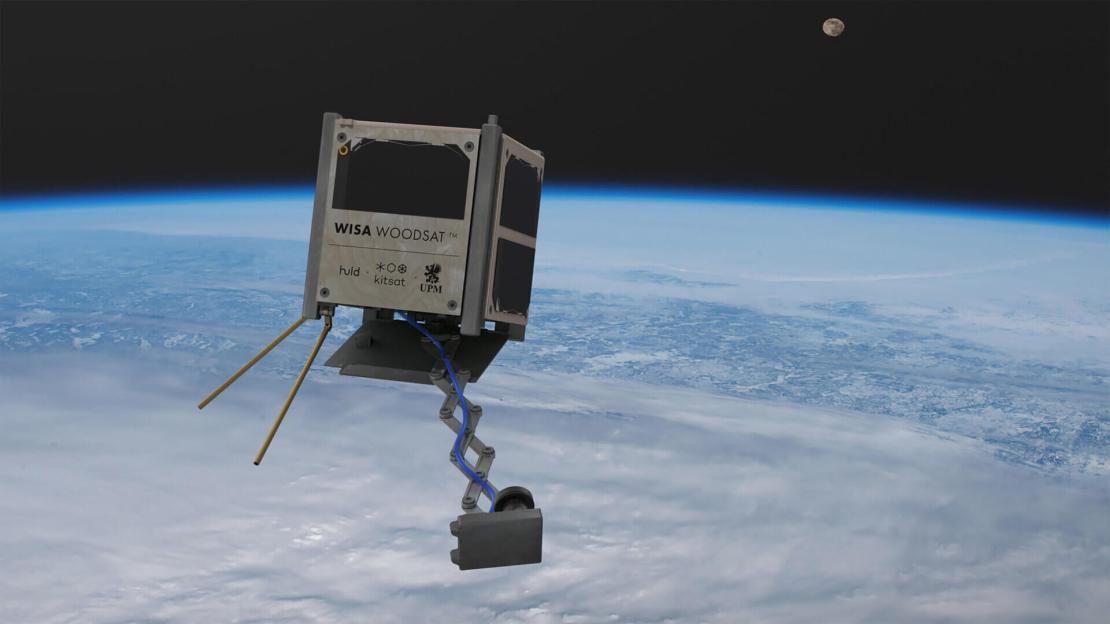 Render satelity WISA Woodsat na orbicie