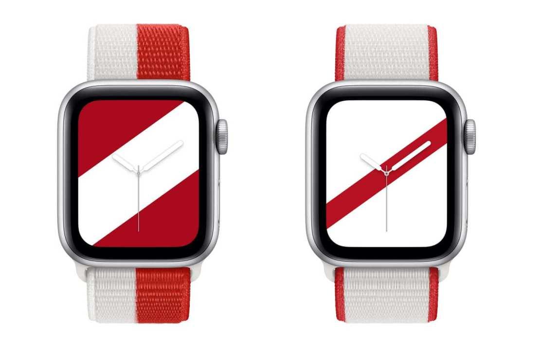 Biało-czerwone paski do zegarków Apple Watch (inspirowane flagami Kanady i Japonii)
