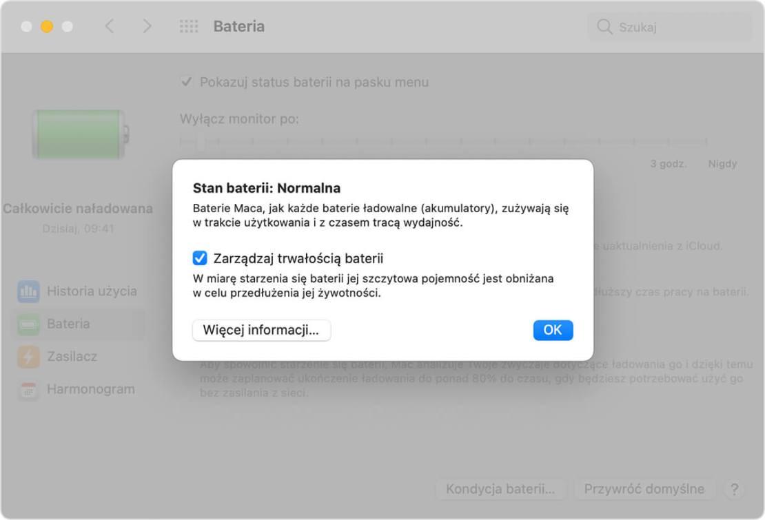 Kondycja baterii na MacBooku