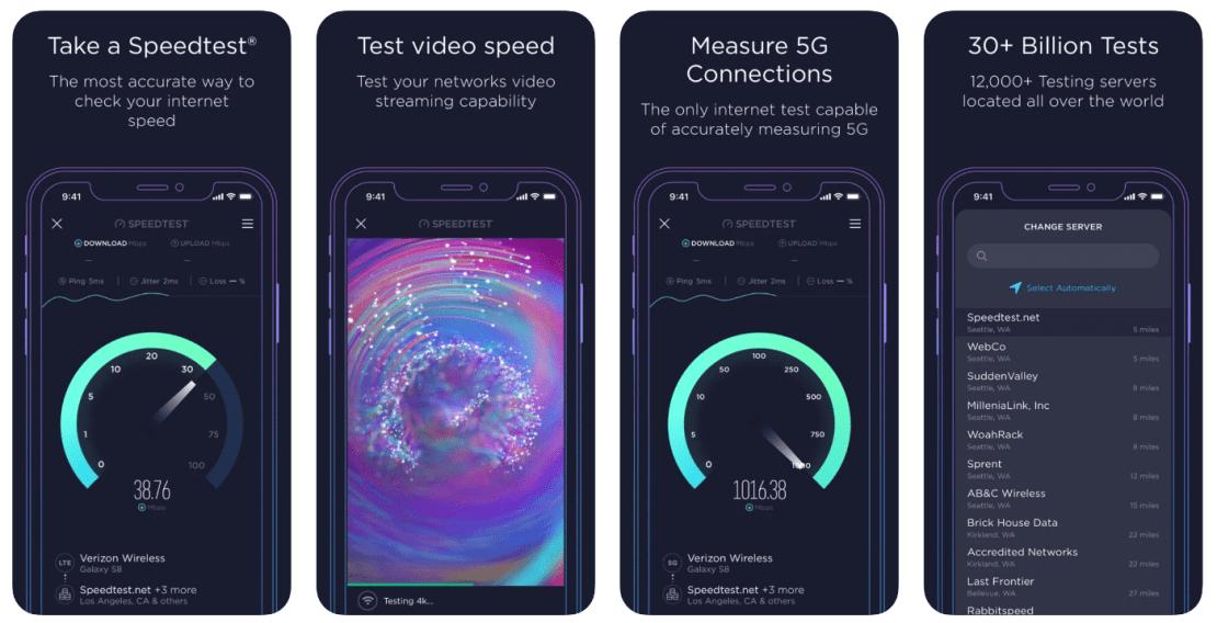 Speedtest by Ookla - screeny z aplikacji