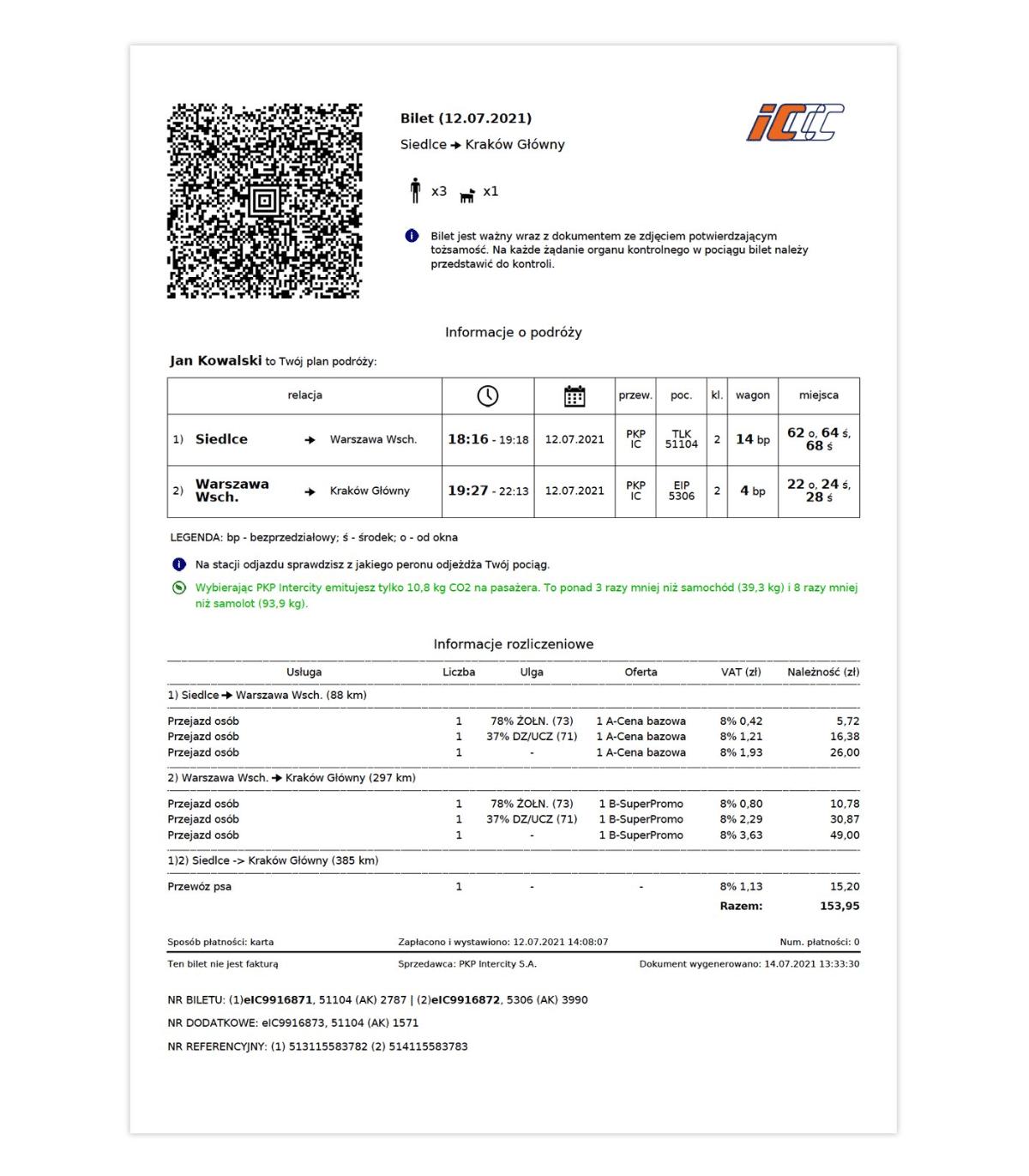 Nowy wzór biletu PKP Intercity z 2021 roku
