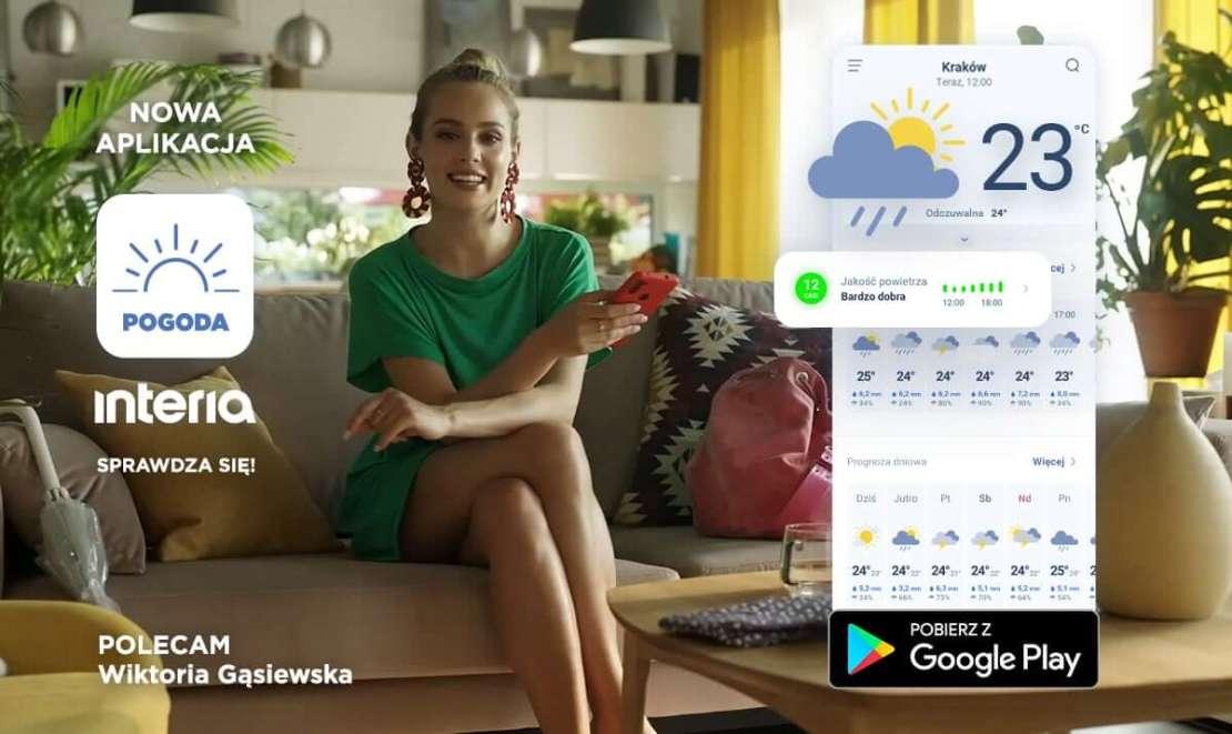 """Aplikacja """"Pogoda Interia"""" promowana przez Wiktorię Gąsiewską"""