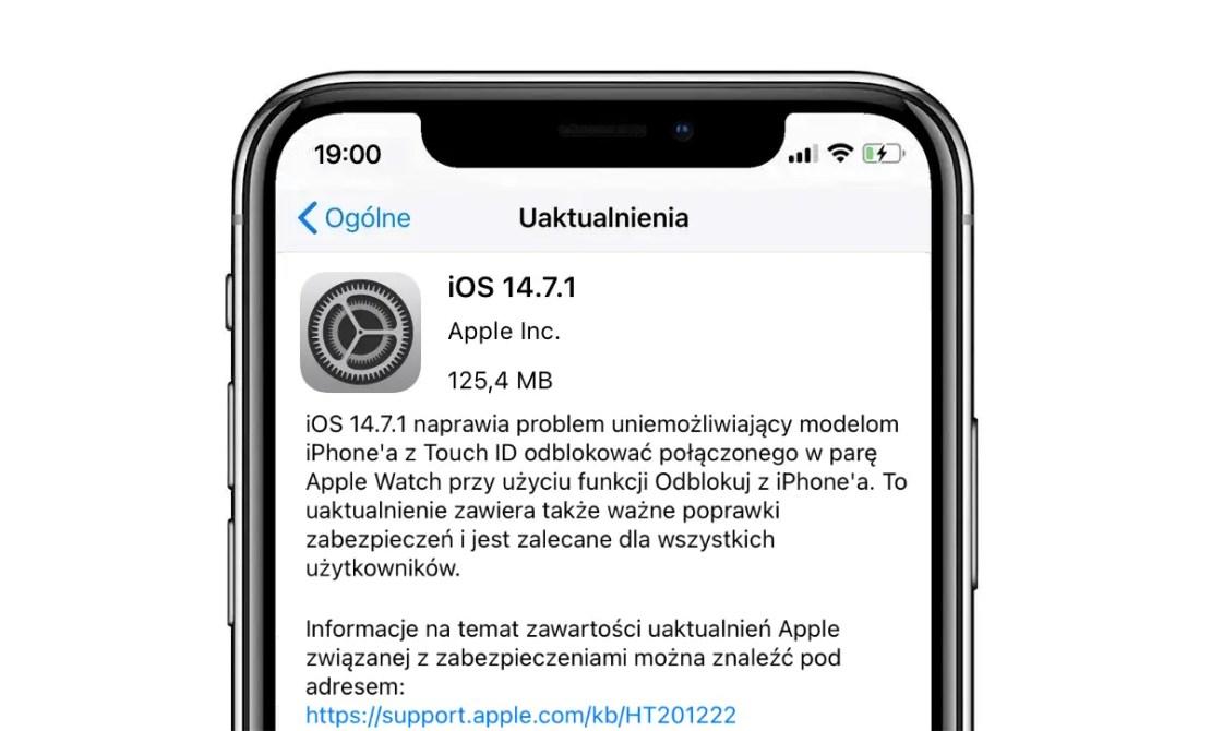 Aktualizacja systemu iOS 14.7.1 OTA (iPhone)