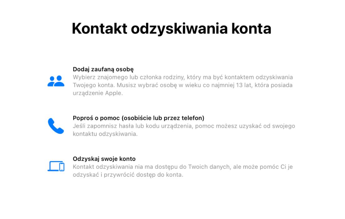 iOS 15: Kontakt odzyskiwania konta