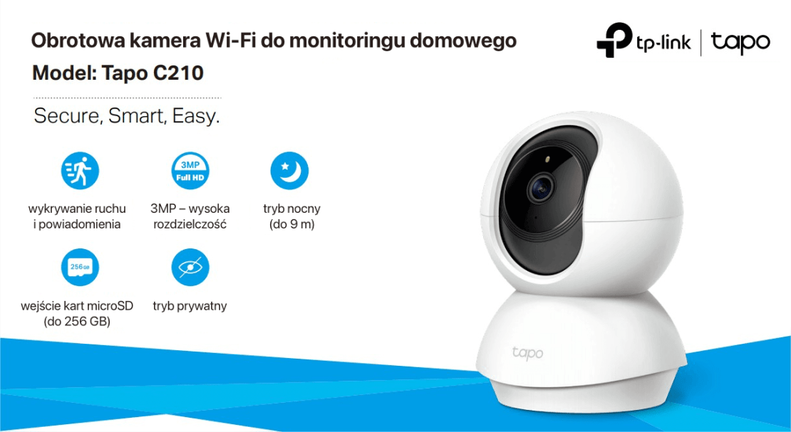 Obrotowa kamera Wi-Fi do monitoringu domowego – tapo C210