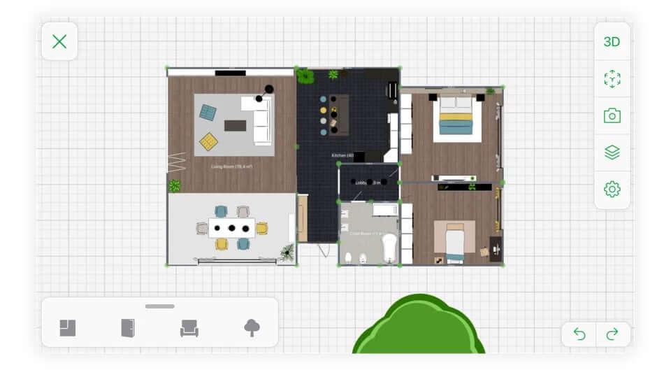 Rzut techniczny mieszkania w aplikacji Planner 5D