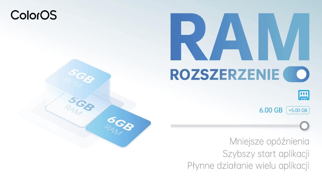 Rozszerzenie pamięci RAM w smartfonach OPPO z systemem ColorOS 11