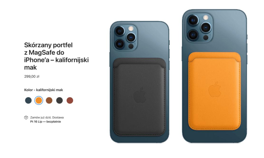Skórzany portfel z MagSafe do iPhone'a – kalifornijski mak