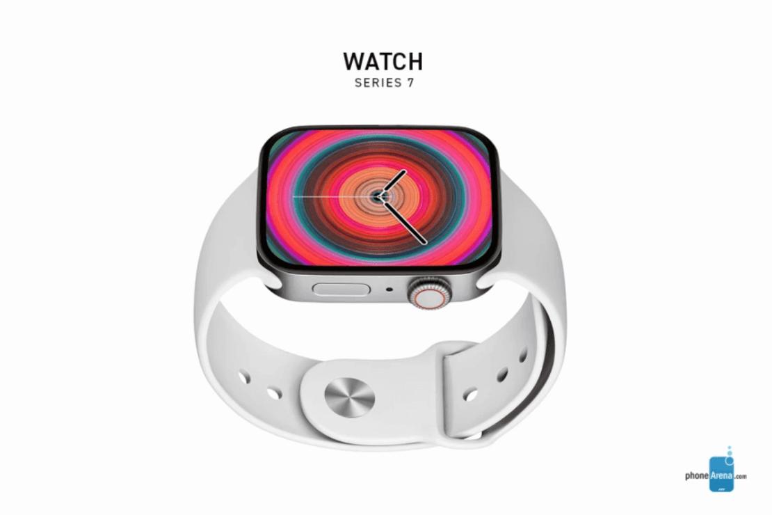 Apple Watch Series 7 - koncepcja z płaskim ekranem (biały)