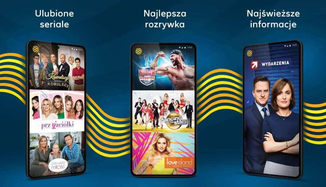 Zrzuty ekranu z aplikacji mobilnej Polsat GO