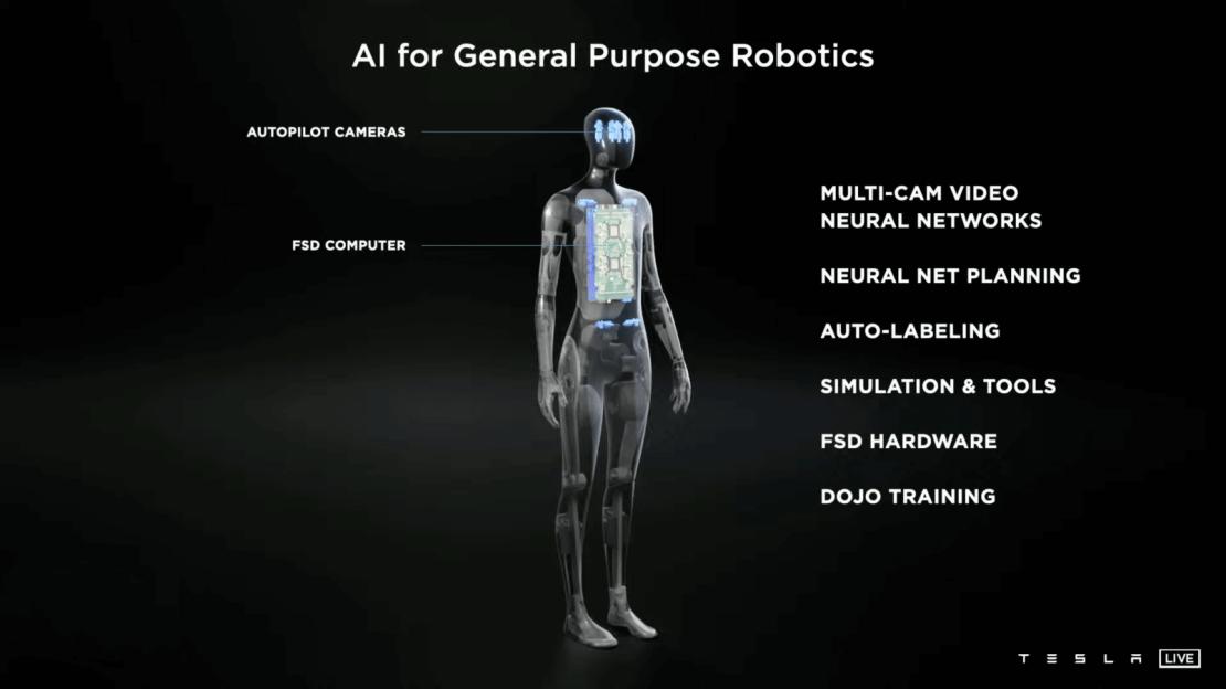 Tesla Bot ze sztuczną inteligencją dla robotów ogólnego przeznaczenia