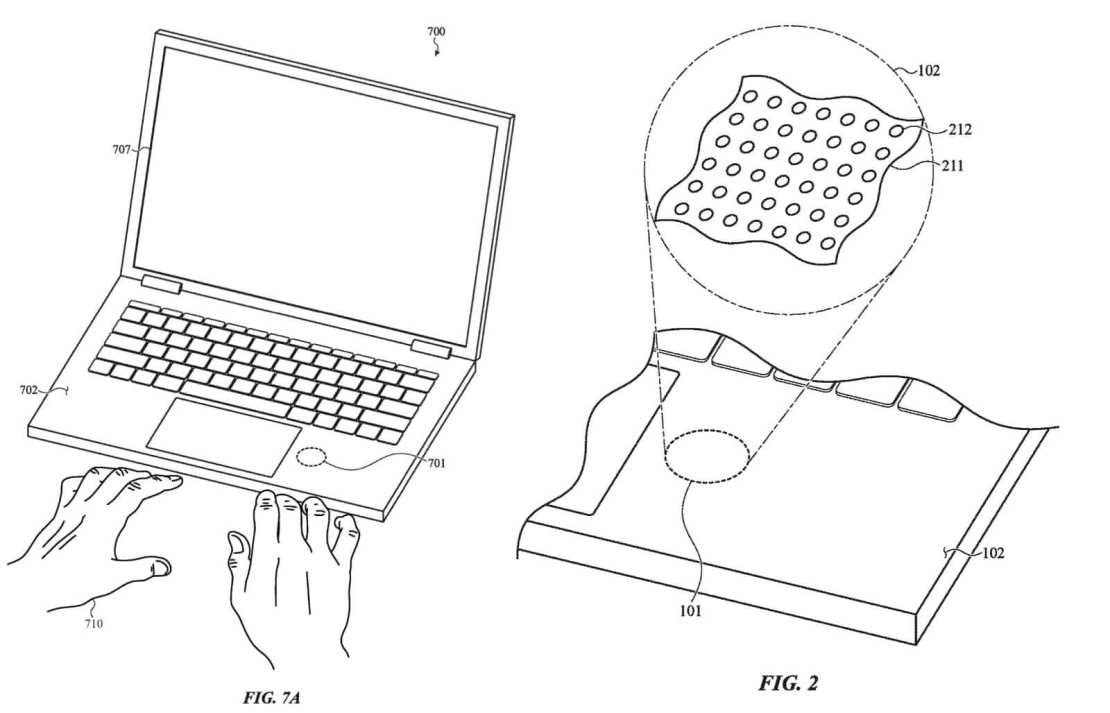 Patent bioczujnika pod nadgarstkiem w MacBook Pro (patent US, 2021)